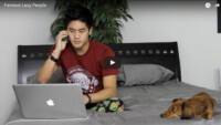 nigahiga on bed with dog