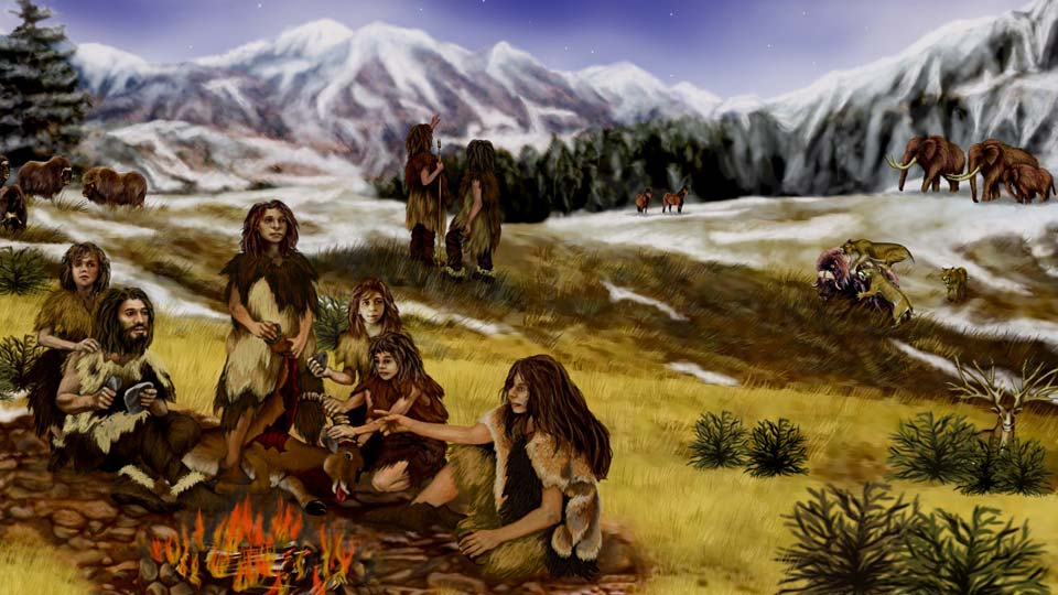 Neanderthals around a fire